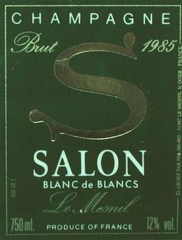 Champagne le mesnil blanc de blancs 1985 salon for 1985 salon champagne