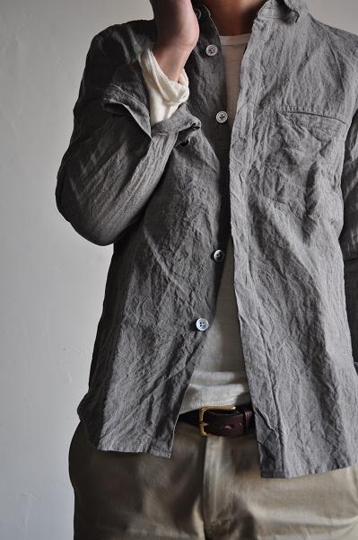 RINEN/リネン Linen Inlay U-neck