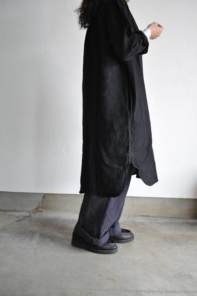 jujudhau/ズーズーダウ LONG LONG SHIRTS(LINEN BLACK)