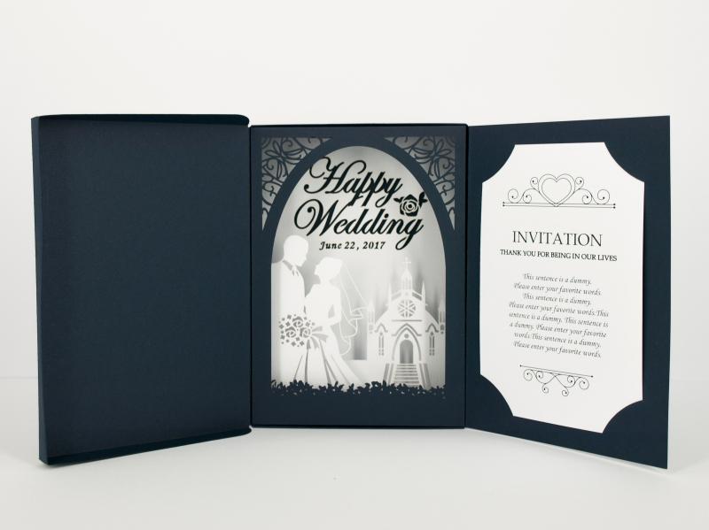 3Dで立体感のある結婚式招待状