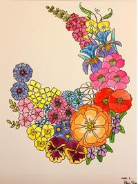 フェルト刺繍作品用デザイン画・夏の不意打ち - ビーズ・フェルト刺繍作家PieniSieniのブログ