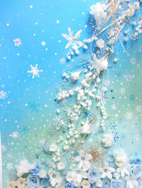雪の国をフレームに入れて - プリザーブドフラワーアレンジメント制作日記