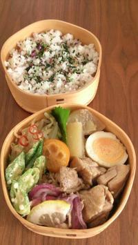 2016/9/26大根と鶏肉の煮物 ウーシャンフェン風味のお弁当 - お弁当と春の空