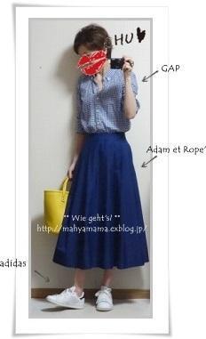 ◆コーデ◆ GAP ギンガムチェックシャツ × Adam et Rope' ミモレSK × adidas スタンスミス - Wie geht's?