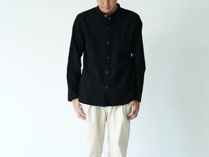 < R I N E N > 2/80ウール綾織 スタンドカラーシャツ (ladies & mens) - clothing & furniture 『Humming room』