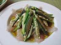 塩締めの鯛と長芋、オクラのカルパッチョ&玉蜀黍ご飯など ♪名残の夏野菜で♪ - やせっぽちソプラノのキッチン2