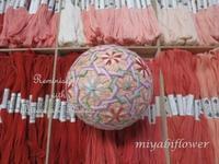 讃岐かがり手まり 32面体に輪つなぎ - 風と花を紡いで