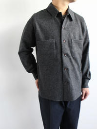 Honor gathering mix wool voile knit shirt - 『Bumpkins putting on airs』