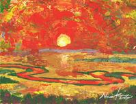 湿原の夕日(修正) - ナオキブログ