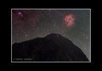 2016年10月24日 冠山と昇ってきたバラ星雲 - Painter,with nature-Photo