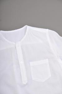 ゴーシュ 90/1 Organic Twill No-Collar Pullover Shirt (White) - un.regard.moderne