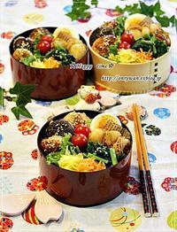 椎茸つくねの照焼きでのっけ盛り弁当と今日のわんこ♪ - ☆Happy time☆