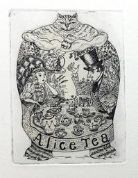 『英国ミステリー&児童文学柄ティーラベル』版画1年ぶり刷り増し中! - +P里美の『Bronze & Willow』Etching note