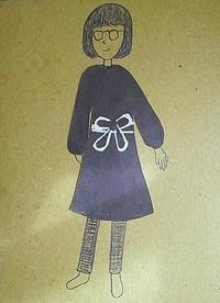 グレーの割烹着 - たなかきょおこ-旅する絵描きの絵日記/Kyoko Tanaka Illustrated Diary