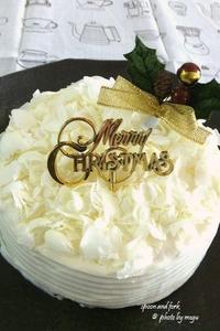 板チョコ2枚で作れるホワイトガナッシュクリスマスケーキ - spoon and fork