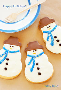 lovely snowman cookies  かわいいスノーマンクッキー - teddy blue