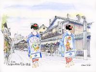 祇園花見小路通と舞妓さん - 風と雲