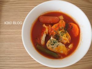 一人ご飯、トマト鍋風 - KIKIブログ