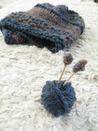 なないろ彩色ニット帽 セリアの毛糸で編みました - 山麓のくらしと編み物