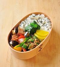 ベーコン茄子の味噌炒め弁当 - 家族へ 健康弁当