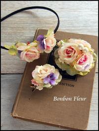 セミオーダー 卒園式と入学式用お揃いコサージュ&カチューシャ - Bonbon Fleur ~ Jours heureux  コサージュ&和装髪飾りボンボン・フルール