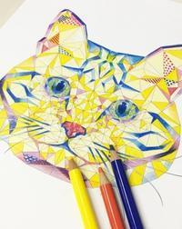 立体パズルぬりえ どうぶつ編 ネコの塗り絵を塗ってみました! - オトナのぬりえ『ひみつの花園』オフィシャル・ブログ