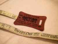 Sweet-Orr advertising tape measure - BUTTON UP clothing