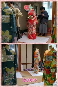 成人式の練習風景 - 山口下関市の着付け教室*出張着付け     はまゆうスタイル