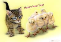 あけましておめでとうございます! - junya.blog(猫×犬)リアリズム絵画