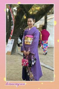 お母様のお着付けで初詣☆艶やかな藤色のお振袖 - 山口下関市の着付け教室*出張着付け     はまゆうスタイル