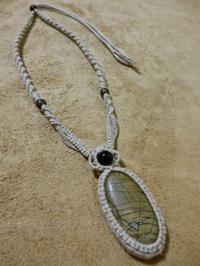 【マクラメ&ヘンプ】#96 ジャスパー?のネックレス - Shop Gramali Rabiya   (SGR)