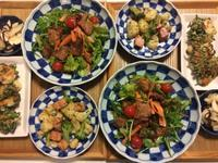 味噌漬け肉のっけ野菜サラダとお餅と春菊のお焼きで家飲みごはん・・・1/4 - vegechi