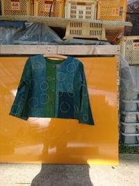 緑藍 接ぎ合わせジャケット 1 シャボン玉刺し子 - 古布や麻の葉