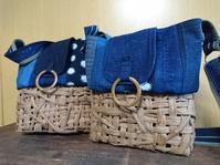 葡萄下籠に刺し子布を付けて ポシェット 2 - 古布や麻の葉