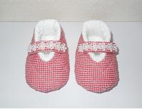 301.赤白チェックのシューズ - フリルの子供服