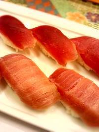 初台 旭鮨総本店の鮪にぎり とろ、赤身 - 東京ライフ