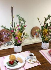 春の花材をいっぱい使ったアレンジレッスン - coco diary 山口県 お花と絵とテーブルコーディネートレッスン