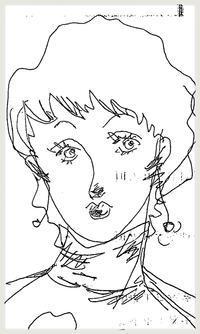 イタズラ描き〜お目目パッチリなショートヘアの女の人 - 書家KORINの墨遊びな日々ー書いたり描いたり