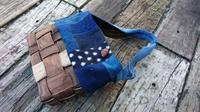 くるみ下籠に刺し子布接ぎ合わせ ワンハンドルバッグ - 古布や麻の葉