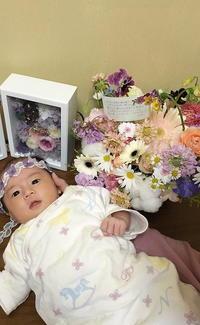 ご友人からのお誕生お祝い、この世に生まれてきたすみれちゃんへ - 一会 ウエディングの花