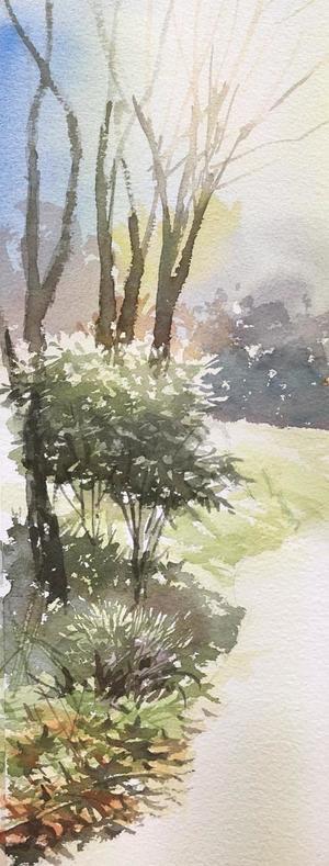 今日のデモ 冬枯れの景色を描く の 1回目 最近訳ありで デモ少なめ - 赤坂孝史の水彩画