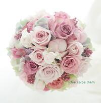 ラウンドブーケ ピンクローズとニュアンスカラー - 一会 ウエディングの花