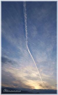 夕時の飛行機雲 - 日々楽しく ♪mon bonheur