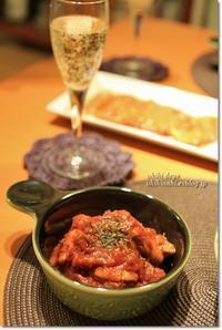 鶏のトマト煮と牡蠣と舞茸のアヒージョ - うひひなまいにち