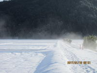 朝日に照らされて・雪の朝 - 妙見山麓をわたる風