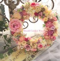 春色ピンクのドアリース - *kiko's  diary* 京都でプリザやリースなどの花雑貨とお庭のお店[Breath Garden]をしています!
