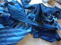縞接ぎ合わせ セカンドバッグ - 古布や麻の葉