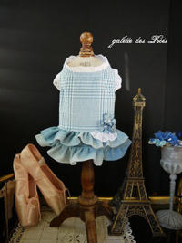 2段デニムスカート 水色わんこワンピース - ガレット・デ・ロワ