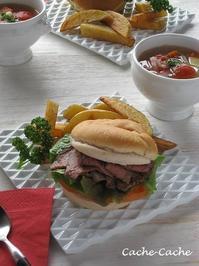 ストウブで野菜スープと、ローストビーフサンドのランチ♪ - Cache-Cache+