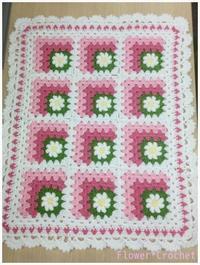 デイジーのミニブランケットVer.2☆ピンク 完成 - Flower*Crochet